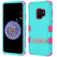 Military Grade Certified TUFF Hybrid Armor Case with Stand for Samsung Galaxy S9 - Teal Green Electric Pink