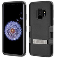 Military Grade Certified TUFF Hybrid Armor Case with Stand for Samsung Galaxy S9 - Black Grey