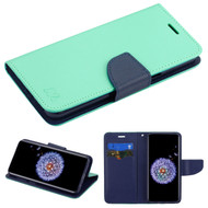 Diary Leather Wallet Case for Samsung Galaxy S9 - Teal Green