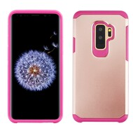 Hybrid Multi-Layer Armor Case for Samsung Galaxy S9 Plus - Rose Gold Hot Pink