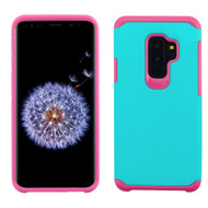 Hybrid Multi-Layer Armor Case for Samsung Galaxy S9 Plus - Teal Green Hot Pink