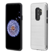 Brushed Multi-Layer Hybrid Armor Case for Samsung Galaxy S9 Plus - Silver
