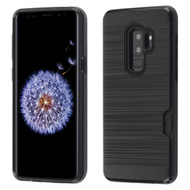 Dual-Layer Hybrid Case with Card Slot for Samsung Galaxy S9 Plus - Black