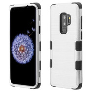 Military Grade Certified Brushed TUFF Hybrid Armor Case for Samsung Galaxy S9 Plus - Silver