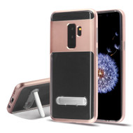Bumper Shield Clear Transparent TPU Case with Magnetic Kickstand for Samsung Galaxy S9 Plus - Rose Gold