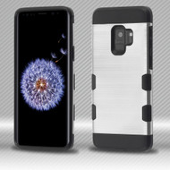 *Sale* Military Grade Certified TUFF Trooper Dual Layer Hybrid Armor Case for Samsung Galaxy S9 - Silver