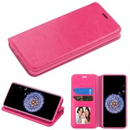 Book-Style Leather Folio Case for Samsung Galaxy S9 - Hot Pink