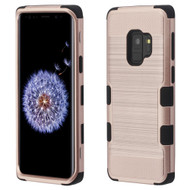 Military Grade Certified Brushed TUFF Hybrid Armor Case for Samsung Galaxy S9 - Rose Gold