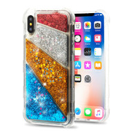 Tuff Lite Quicksand Glitter Transparent Case for iPhone X - Diagonal Partition