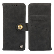 Faux Suede Leather Wallet with Detachable Magnetic Case for Samsung Galaxy S9 - Black