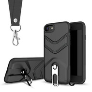 *Sale* Victory Rugged Hybrid Armor Case with Metal Loop Kickstand and Lanyard for iPhone 8 / 7 - Black