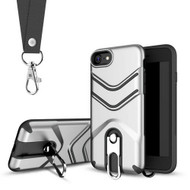 *Sale* Victory Rugged Hybrid Armor Case with Metal Loop Kickstand and Lanyard for iPhone 8 / 7 - Silver