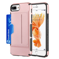 Exec Hybrid Case with Card Holder Compartment for iPhone 8 Plus / 7 Plus / 6S Plus / 6 Plus - Rose Gold