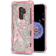 *Sale* Tuff Lite Quicksand Glitter Electroplating Transparent Case for Samsung Galaxy S9 Plus - Eiffel Tower Rose Gold