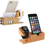 Bamboo Wood 3 Port Desktop Charging Stand for Apple Watch and Smartphones