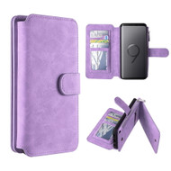 Luxury Coach Series Leather Wallet with Removable Magnet Case for Samsung Galaxy S9 Plus - Lavender