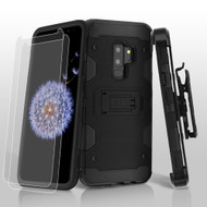 Military Grade Certified Storm Tank Hybrid Case with Holster and Screen Protector for Samsung Galaxy S9 Plus - Black