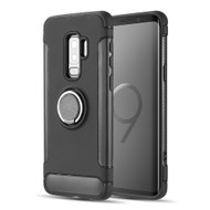 Carbon Edge Sports Hybrid Armor Case with Ring Holder for Samsung Galaxy S9 Plus - Black