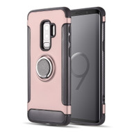 Carbon Edge Sports Hybrid Armor Case with Ring Holder for Samsung Galaxy S9 Plus - Rose Gold