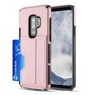 Exec Hybrid Case with Card Holder Compartment for Samsung Galaxy S9 Plus - Rose Gold