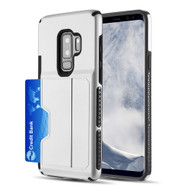 Exec Hybrid Case with Card Holder Compartment for Samsung Galaxy S9 Plus - Silver