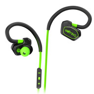 Sweatproof Bluetooth V4.1 Wireless Earhook Headphones with Noise Cancelling Microphone - Black Green