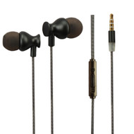 Premium Metal Noise Isolating In-Ear Headphones with Mic - Black