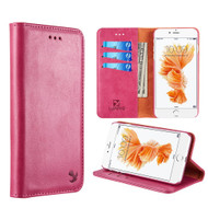 Luxury Magnetic Leather Wallet Case for iPhone 8 Plus / 7 Plus - Hot Pink