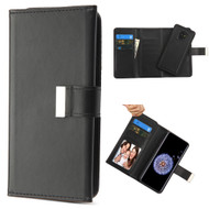 2-IN-1 Premium Tri-Fold Leather Wallet with Removable Magnetic Case for Samsung Galaxy S9 - Black
