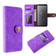 Luxury Coach Lite Series Leather Wallet with Removable Magnetic Case for Samsung Galaxy S9 - Purple