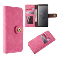 Luxury Coach Lite Series Leather Wallet with Removable Magnetic Case for Samsung Galaxy S9 - Hot Pink