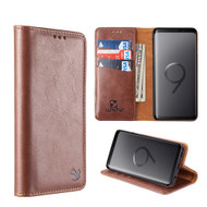 2-IN-1 Luxury Magnetic Leather Wallet Case for Samsung Galaxy S9 - Brown