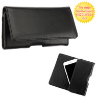 Universal Magnetic Flip Leather Folio Hip Smartphone Case - Black