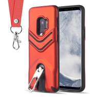 *Sale* Victory Rugged Hybrid Armor Case with Metal Loop Kickstand and Lanyard for Samsung Galaxy S9 - Red