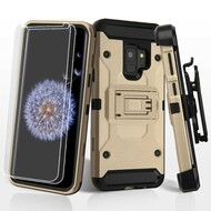 *Sale* 3-IN-1 Kinetic Hybrid Armor Case with Holster and Screen Protector for Samsung Galaxy S9- Gold