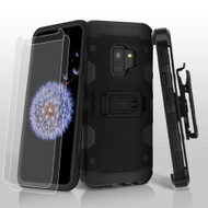 Military Grade Certified Storm Tank Hybrid Case with Holster and Screen Protector for Samsung Galaxy S9 - Black