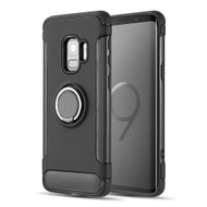 *Sale* Carbon Edge Sports Hybrid Armor Case with Ring Holder for Samsung Galaxy S9 - Black