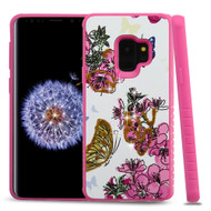 *Sale* Tough Anti-Shock Hybrid Case for Samsung Galaxy S9 - Butterfly and Flowers