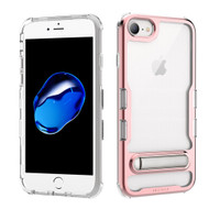 TUFF Panoview Transparent Hybrid Case with Magnetic Kickstand for iPhone 8 / 7 / 6S / 6 - Electroplated Rose Gold