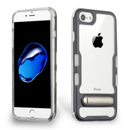 TUFF Panoview Transparent Hybrid Case with Magnetic Kickstand for iPhone 8 / 7 / 6S / 6 - Electroplated Black