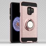 Sports Hybrid Armor Case with Smart Loop Ring Holder for Samsung Galaxy S9 - Rose Gold
