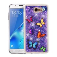 Quicksand Glitter Transparent Case for Samsung Galaxy J7 (2017) / J7 V / J7 Perx - Butterfly Dancing