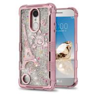 *Sale* Tuff Lite Quicksand Glitter Case for LG Aristo / Fortune / K8 2017 / Phoenix 3 - Eiffel Tower Rose Gold