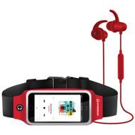 HyperGear ActiveGear Bluetooth Wireless Earphones + Sport Belt Set - Red