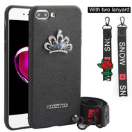 *Sale* Crystal 3D Jewel TPU Case with Lanyard and Hand Strap for iPhone 8 Plus / 7 Plus - Crown Black