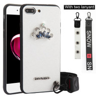 *Sale* Crystal 3D Jewel TPU Case with Lanyard and Hand Strap for iPhone 8 Plus / 7 Plus - Crown White