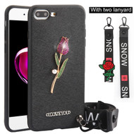 *Sale* Crystal 3D Jewel TPU Case with Lanyard and Hand Strap for iPhone 8 Plus / 7 Plus - Rose Black