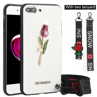 *Sale* Crystal 3D Jewel TPU Case with Lanyard and Hand Strap for iPhone 8 Plus / 7 Plus - Rose White