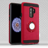 Sports Hybrid Armor Case with Smart Loop Ring Holder for Samsung Galaxy S9 Plus- Red