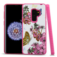 *Sale* Tough Anti-Shock Hybrid Case for Samsung Galaxy S9 Plus- Butterfly and Flowers